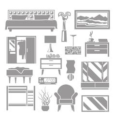Bedroom Furniture Grey Set vector image vector image