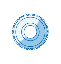 Blue color shading silhouette cog wheel pinion vector