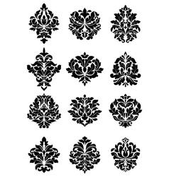 Bold floral arabesque motifs vector