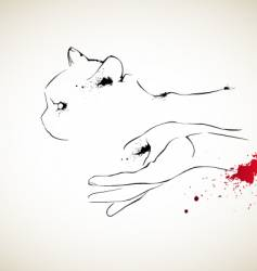 cat and hand vector image