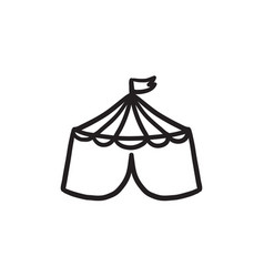 Circus tent sketch icon vector