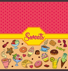 Colorful background with sweets vector image vector image
