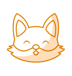 Cute shadow fox face cartoon vector