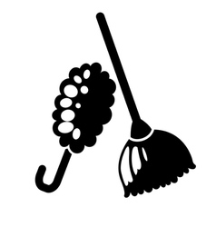 Feather duster and broom icon vector