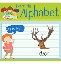 Flashcard letter D is for deer vector image vector image