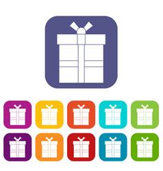 Gift box with ribbon icons set flat vector