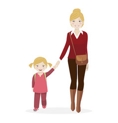 girl with her mother walking to school vector image vector image