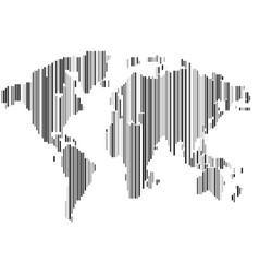 Isolated striped black and white color worldmap vector