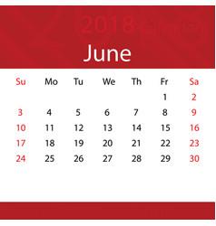 June 2018 calendar popular red premium for vector