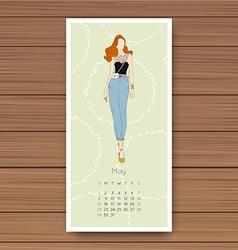 May hand drawn fashion models calendar 2016 vector