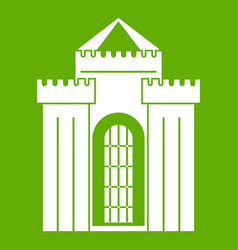 Medieval palace icon green vector