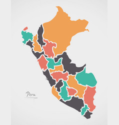 Peru map with states and modern round shapes vector