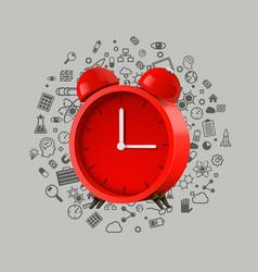 realistic red alarm clock clean vector image vector image