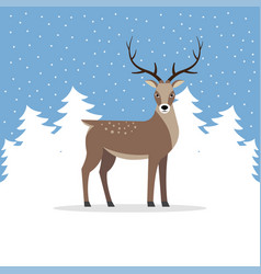 Reindeer with antler on background of trees vector
