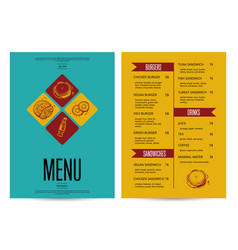 restaurant menu card design template vector image vector image