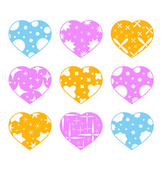 set of color hearts isolated on white background vector image vector image