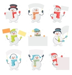 Set of snowman cartoons with blank message board vector