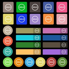 Sold icon sign set from twenty seven multicolored vector