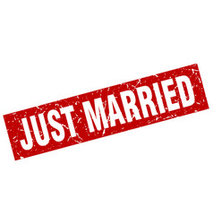 square grunge red just married stamp vector image vector image