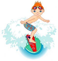 surfer boy in action vector image vector image