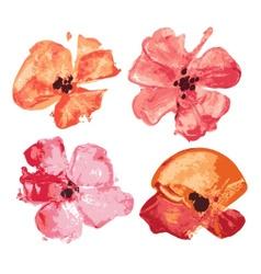 Watercolor flowers set design elements vector image vector image