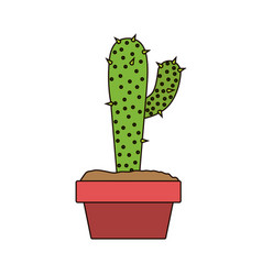 White background with cactus with big branch in vector