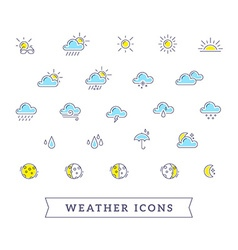 yellow and blue weather theme icon set on vector image vector image