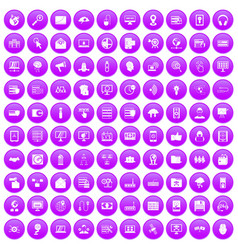 100 cyber security icons set purple vector