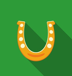 Flat design horseshoe icon with long shadow vector image