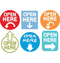 Open Here Sign Icon Set vector image