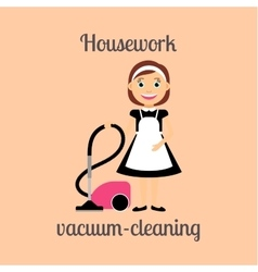 Housekeeper vacuum cleaning vector image