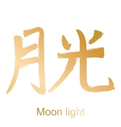 Kanji hieroglyph moon light vector image