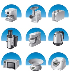small kitchen appliances icon set vector image