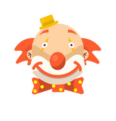 Clown face smile in wig and birthday cap vector