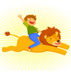 Riding a lion vector