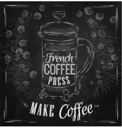 Poster french coffee press chalk vector