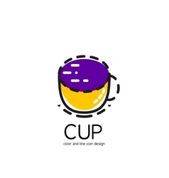 Color line icon for flat design cup vector