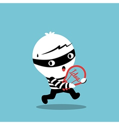 Piracy thief stealing idea bulb cartoon vector