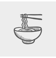 Bowl of noodles with a pair chopsticks sketch icon vector