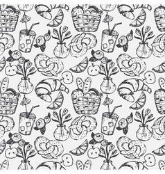 Hand drawn seamless pattern for kitchen theme vector