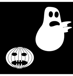 Funny ghost halloween scary pumpkin fright vector