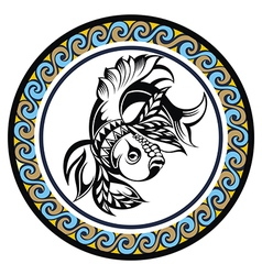 Decorative zodiac sign pisces vector