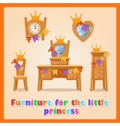 Furniture for the little princess and her family vector