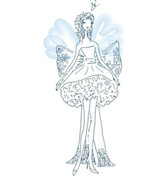 Ornate silhouette of the elf bride with wings vector