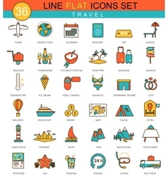 Travel flat line icon set modern elegant vector