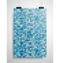 Blue sequin poster on the wall eps 10 vector