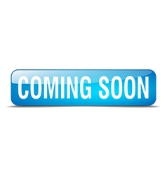 Coming soon blue square 3d realistic isolated web vector