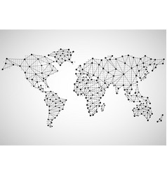abstract world map of dots and line vector image vector image