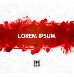 big red grunge splash on rice paper background vector image