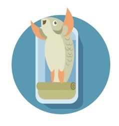 Canned cartoon fish vector image